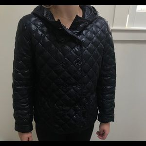 J. Crew quilted navy blue jacket.